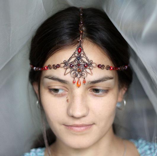 лалатика из меди ручной работы индийское украшение третий глаз оригинальный на голову тика на лоб купить wirewrap медный