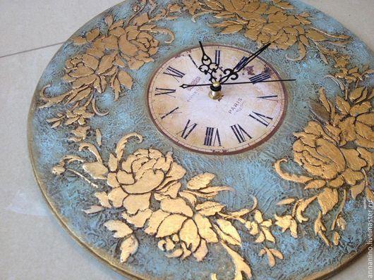 Часы для дома ручной работы. Ярмарка Мастеров - ручная работа. Купить Настенные часы Бирюза. Handmade. Голубой, часы для гостиной