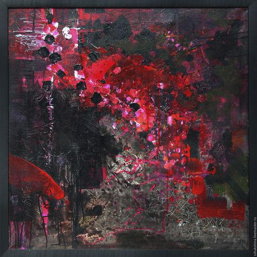 """Абстракция ручной работы. Ярмарка Мастеров - ручная работа. Купить Абстрактная картина """"Темная вишня"""". Handmade. Черный, розовый"""