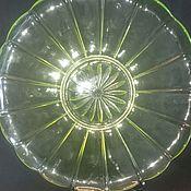 Тарелки винтажные ручной работы. Ярмарка Мастеров - ручная работа Старинное блюдо Урановое стекло. Handmade.