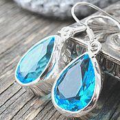 Украшения ручной работы. Ярмарка Мастеров - ручная работа Серьги капли серебро топазы голубые - на каждый день, на работу, офис. Handmade.