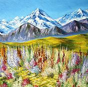 """Картины и панно ручной работы. Ярмарка Мастеров - ручная работа Горный пейзаж  """"Горная долина"""", картина маслом горы. Handmade."""