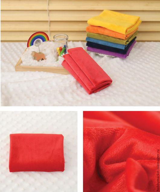 Шитье ручной работы. Ярмарка Мастеров - ручная работа. Купить Плюш на трикотажной основе (красный ). Handmade. Ткань