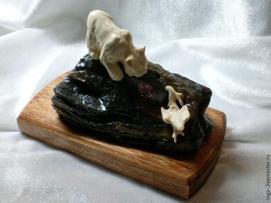 Статуэтки ручной работы. Ярмарка Мастеров - ручная работа. Купить миниатюра из бивня мамонта Рысь. Handmade. Белый, авторская работа
