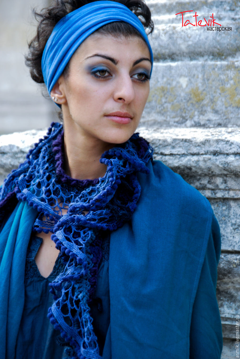 Knitted scarf 'Night' boho style, Scarves, Moscow,  Фото №1