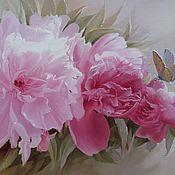 """Картины и панно ручной работы. Ярмарка Мастеров - ручная работа картина маслом """"Цветной сон"""" (розовые пионы). Handmade."""