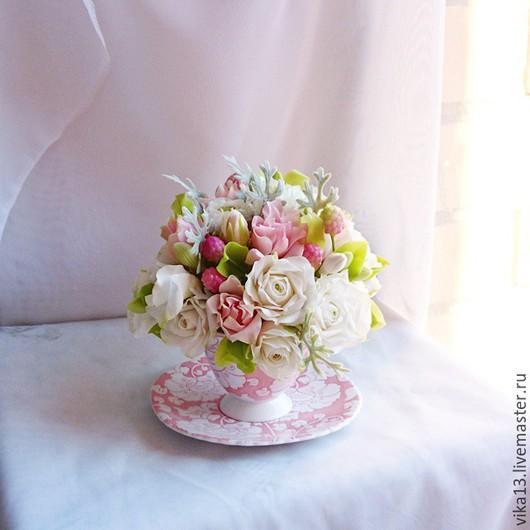"""Букеты ручной работы. Ярмарка Мастеров - ручная работа. Купить Чашечка """"Розовый рассвет"""". Handmade. Кремовый, розы ручной работы"""
