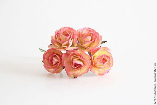 Открытки и скрапбукинг ручной работы. Ярмарка Мастеров - ручная работа. Купить Maxi розы желто-розовые, 5 штук. Handmade.