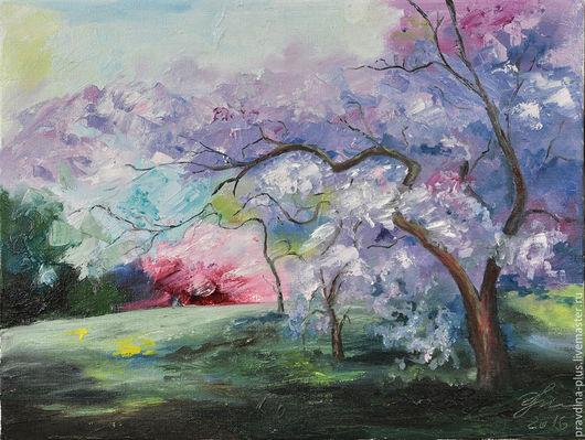 """Пейзаж ручной работы. Ярмарка Мастеров - ручная работа. Купить Картина маслом """"Весенний сад"""". Handmade. Розовый, картина в подарок"""