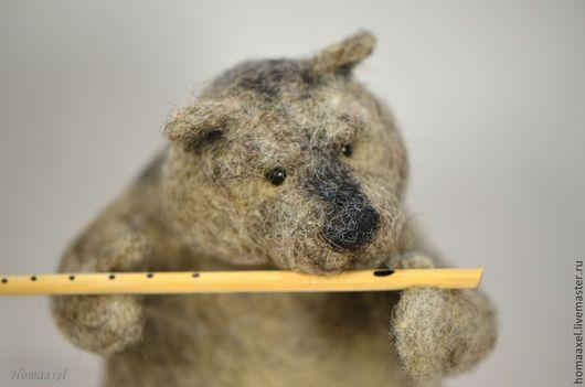 Игрушки животные, ручной работы. Ярмарка Мастеров - ручная работа. Купить Вомбат с флейтой. Handmade. Серый, играет на флейте