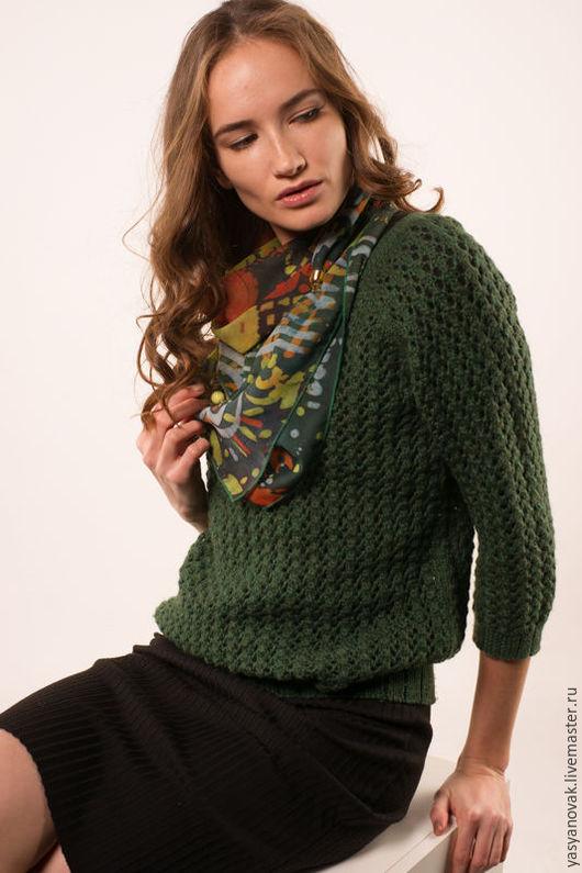"""Шали, палантины ручной работы. Ярмарка Мастеров - ручная работа. Купить Платок """"Палитра зеленого"""". Handmade. Аксессуар, универсальный, зеленый"""