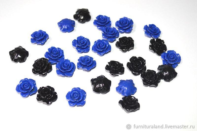 Розочки из синтетического коралла, синие и черные, Бусины, Коломна, Фото №1