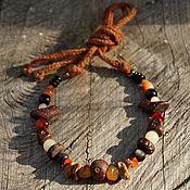 handmade. Livemaster - original item Necklace with onyx, coral and birds. Handmade.