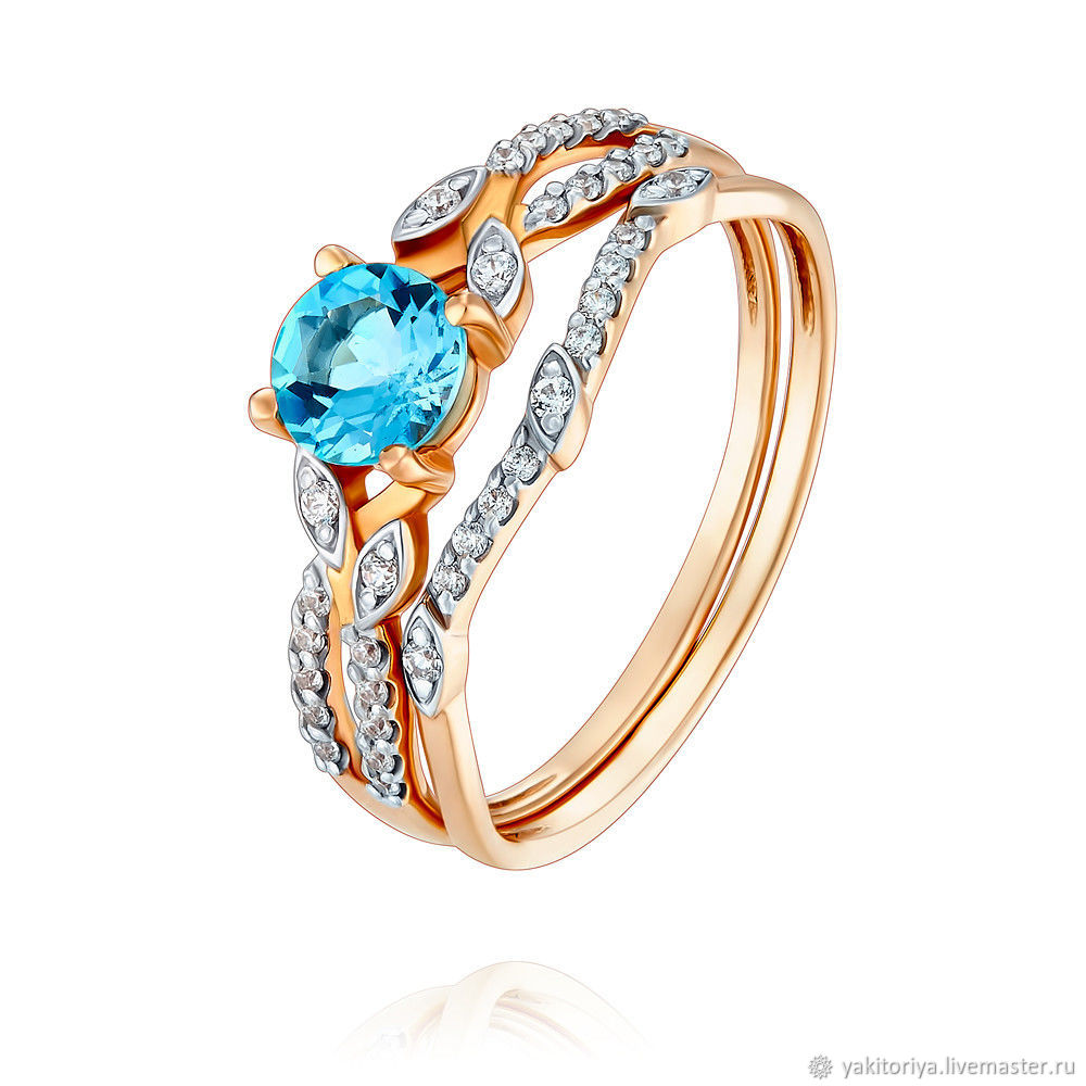 585 gold ring with Topaz and cubic Zirconia, Rings, Moscow,  Фото №1