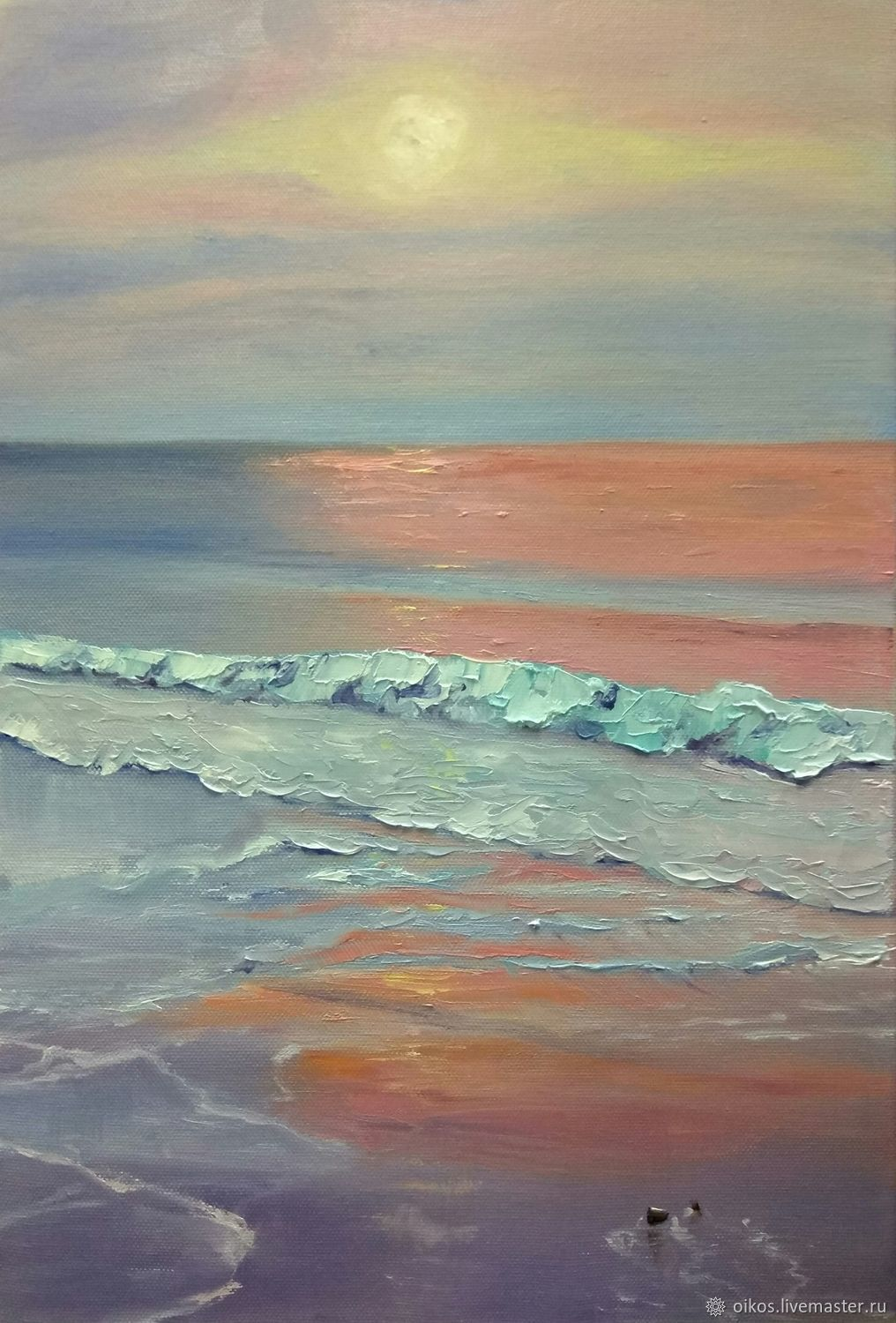 Oil painting sun sea soft colours of the dawn, Pictures, St. Petersburg,  Фото №1