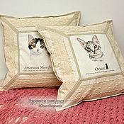 """Для дома и интерьера ручной работы. Ярмарка Мастеров - ручная работа """"Кошки""""  2 наволочки. Handmade."""