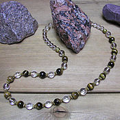 Работы для детей, handmade. Livemaster - original item Tiger eye and rock crystal beads
