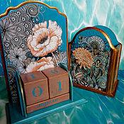 Канцелярские товары handmade. Livemaster - original item Calendar pencil holder: Flowers in turquoise. Handmade.