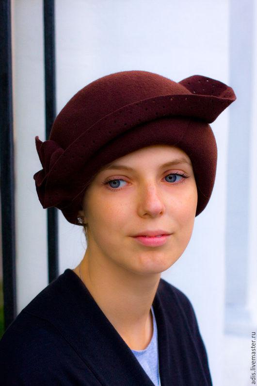 Шляпы ручной работы. Ярмарка Мастеров - ручная работа. Купить шляпка «шоколадка». Handmade. Коричневый, модерн, 100% пух кролика