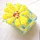 """Шкатулки ручной работы. Ярмарка Мастеров - ручная работа. Купить Шкатулочка """"Позитивная"""" Фьюзинг. Handmade. Желтый, желтый цветок"""