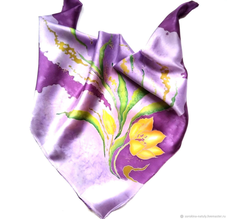 """Шали, палантины ручной работы. Ярмарка Мастеров - ручная работа. Купить Платок весенний """"Жёлтые тюльпаны"""" подарок на 8 марта женский платок. Handmade."""
