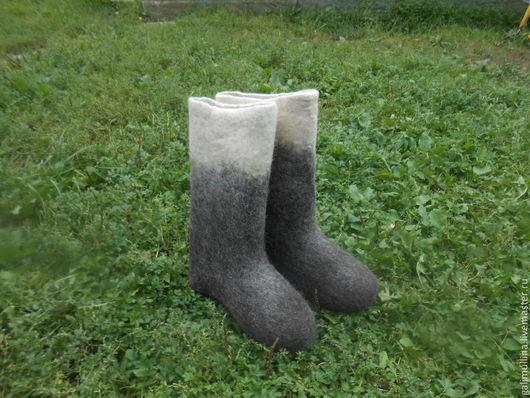 Обувь ручной работы. Ярмарка Мастеров - ручная работа. Купить Валенки комбинированные.. Handmade. Чёрно-белый, валенки ручной работы