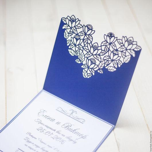 Свадебные аксессуары ручной работы. Ярмарка Мастеров - ручная работа. Купить Приглашение на свадьбу. Handmade. Тёмно-синий, свадебные аксессуары