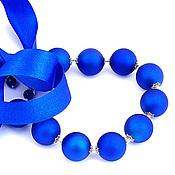 Украшения ручной работы. Ярмарка Мастеров - ручная работа Бусы синие на ленте Шары Королевский синий. Handmade.