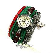 """Украшения ручной работы. Ярмарка Мастеров - ручная работа Стильные часы наручные  """"Незабываемые минуты"""" изумрудно- бордовые. Handmade."""