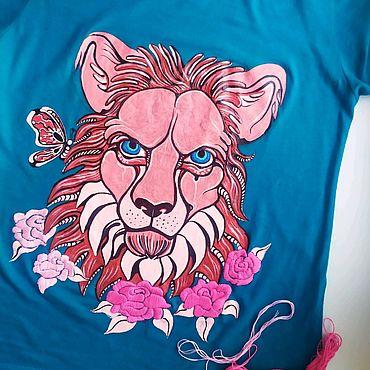 """Одежда ручной работы. Ярмарка Мастеров - ручная работа Футболка ,""""Мудрый лев"""". Handmade."""