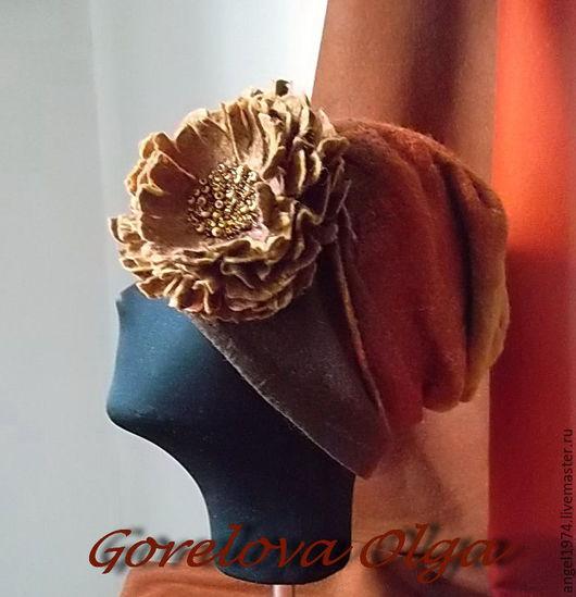"""Шапки ручной работы. Ярмарка Мастеров - ручная работа. Купить валяная шапка и шарф """"Твоя весна"""". Handmade. Коричневый"""