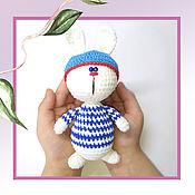 Мягкие игрушки ручной работы. Ярмарка Мастеров - ручная работа Игрушки: Вязаный заяц - моряк из велюровой пряжи. Handmade.