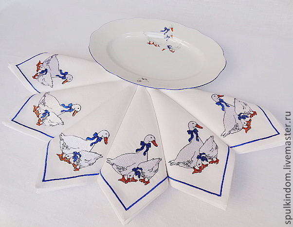 Napkins with embroidery `Geese` on the famous Czech dinner service. ` Sulkin house` embroidery workshop