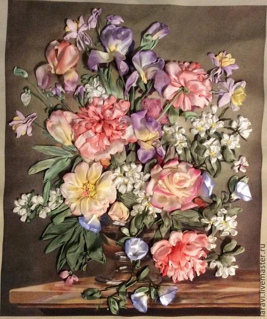 Картины цветов ручной работы. Ярмарка Мастеров - ручная работа. Купить Вышивка лентами Цветочная рапсодия. Handmade. Розовый