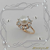 Украшения handmade. Livemaster - original item Sea pearl ring 585 gold, diamonds, pearls. VIDEO. Handmade.