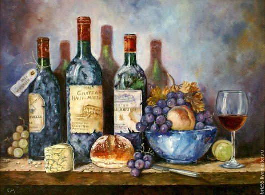 Натюрморт ручной работы. Ярмарка Мастеров - ручная работа. Купить Картина маслом Натюрморт с вином и фруктами. Handmade. Комбинированный, масло