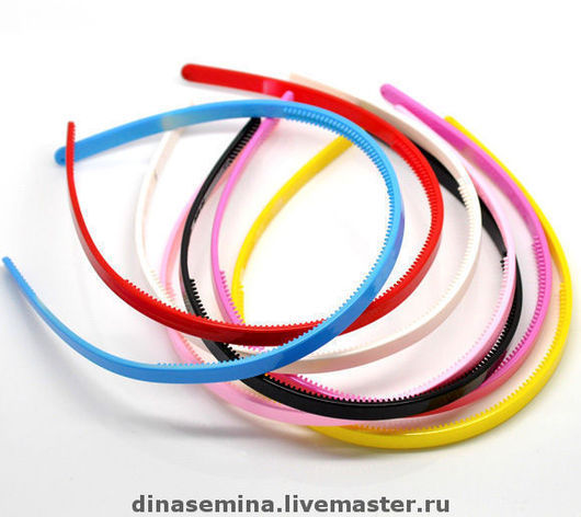 Основа для ободка пластмассовая разные цвета, с зубчиками 8 мм