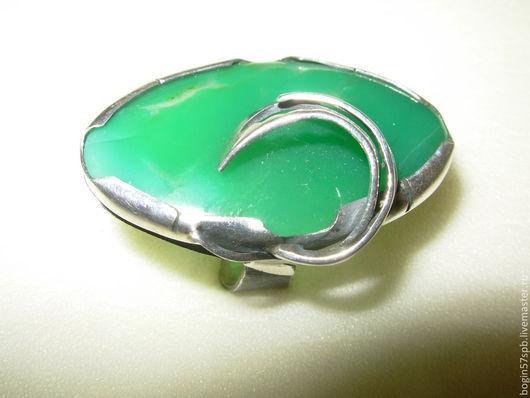 """Кольца ручной работы. Ярмарка Мастеров - ручная работа. Купить Кольцо """"Завиток"""" с хризопразом. Handmade. Ярко-зелёный, хризопраз натуральный"""