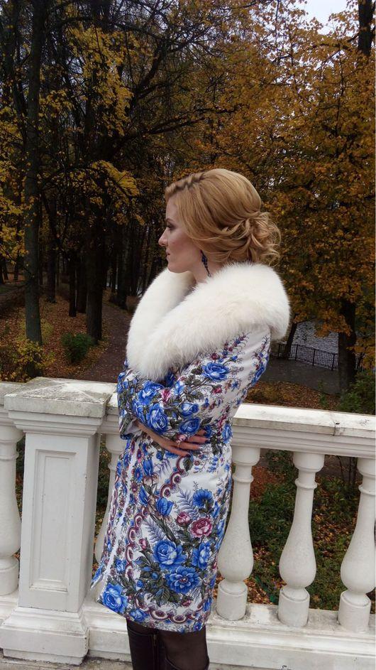 Верхняя одежда ручной работы. Ярмарка Мастеров - ручная работа. Купить Пальто Снегурочка из павловопосадского платка с мехом. Handmade. песец