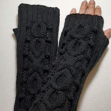 Accessories. Livemaster - original item Mitts long 157 black. Handmade.
