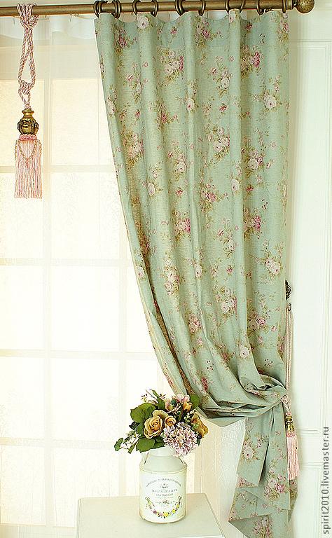 """Текстиль, ковры ручной работы. Ярмарка Мастеров - ручная работа. Купить Шторы льняные """"Английские розы"""". Handmade. Зеленый, розы"""