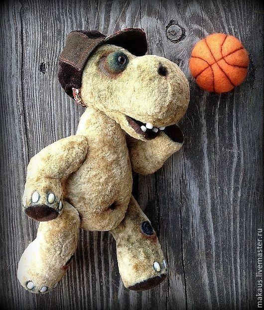 """Мишки Тедди ручной работы. Ярмарка Мастеров - ручная работа. Купить Бегемот тедди """"Жора"""". Handmade. Оливковый, баскетбол, миништоф"""