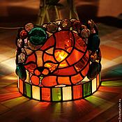 Для дома и интерьера ручной работы. Ярмарка Мастеров - ручная работа Светильник ночник из цветного стекла витраж тиффани Рыжий котейка. Handmade.