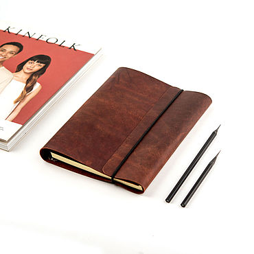 Stationery handmade. Livemaster - original item Leather notebook on the rings A5 is made of genuine leather. Handmade.