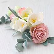 Свадебный салон ручной работы. Ярмарка Мастеров - ручная работа Свадебные украшения из фоамирана  Гребень с цветами. Handmade.