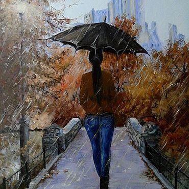 Картины и панно ручной работы. Ярмарка Мастеров - ручная работа Картины: Масло холст картина Девушка зонт парк. Handmade.