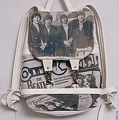 Сумки и аксессуары ручной работы. Ярмарка Мастеров - ручная работа рюкзак белый с принтом BEATLES-винтаж. Handmade.