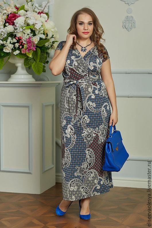 Платья ручной работы. Ярмарка Мастеров - ручная работа. Купить Длинное платье из струящегося трикотажа 25015-1. Handmade.