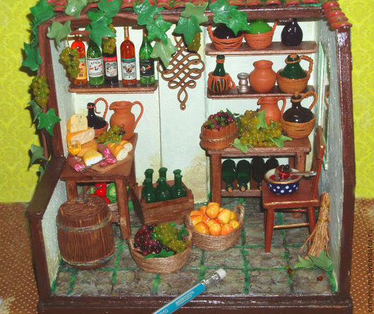 Кукольный дом ручной работы. Ярмарка Мастеров - ручная работа. Купить Винная лавка. Handmade. Ручная работа, кукольная миниатюра