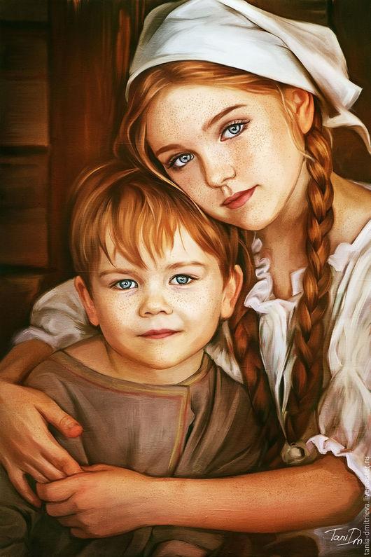 портрет на заказ, цифровой портрет, цифровая живопись, подарок, оформление интерьера, интерьерная картина, холст на подрамнике,  подарок родителям, подарок маме, детское, детский интерьер
